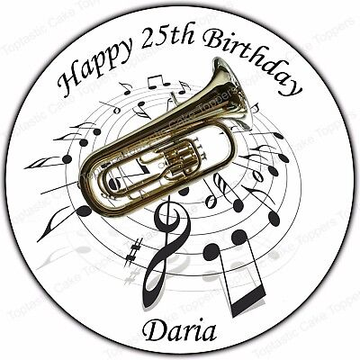 """Personalised Musical Notes 7.5/"""" Edible Icing Cake Topper birthday exam"""