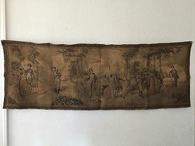 Antique French Tapestry Garden Scene Royalty Military Courting Made in France