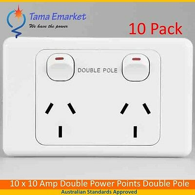 10 x Double Pole 10 Amp Double Power Point GPO Caravans Campers Motorhomes