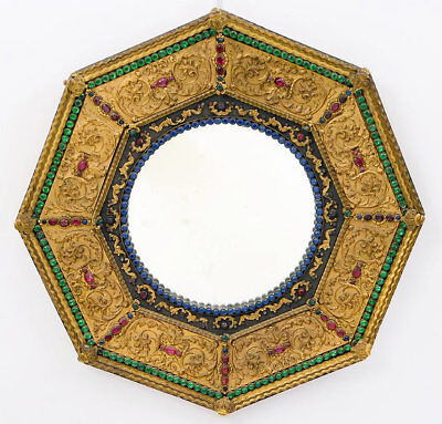 Antique Renaissance Style Jeweled Gilt Metal Boudoir Mirror
