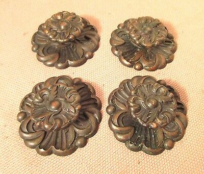 lot of 4 vintage large ornate bronze circular drawer pulls handle hardware brass
