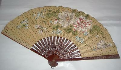 Vintage Hand-Painted Paper Fan w/ Lacquered Bamboo