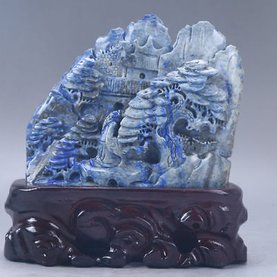 100% Natural Lapis Lazuli Hand Carved Old Man & Pine Tree Statues  y388