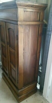 NICE CUPBOARD--BOOKCASE SOLID TIMBER DARK 3 sections 2doors 2 shelves EXC COND
