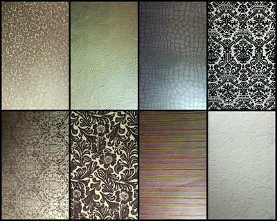 A4 Gorgeous Textured Designer Papers Embossed Flocked Metallic Stripe Floral etc