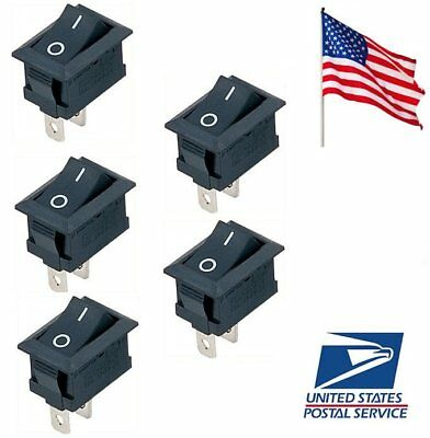 5 Pcs Black On/Off Switch Snap-in Connectors 12V 110V 250V KCD1-101 US Ship