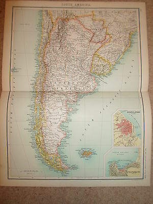 c1900 Map SOUTH AMERICA - SECTION 3 - J Bartholomew  XXth Century Citizens Atlas
