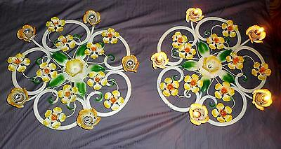"""Pair Rare Shabby French Style Tole Floral Sconces 5 lights - working -25"""""""