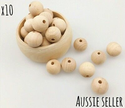 10 natural beech wood wooden round beads necklace jewellery teether pram baby
