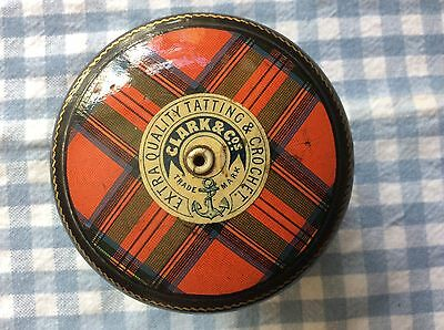 Antique Mauchlinware Tartan Thread Box/Dispenser