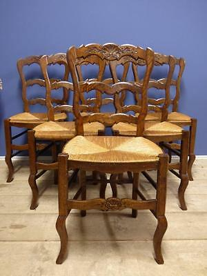 LOVELY SET OF SIX / 6 VINTAGE FRENCH DINING CHAIRS - g173 - Several Sets Avail.