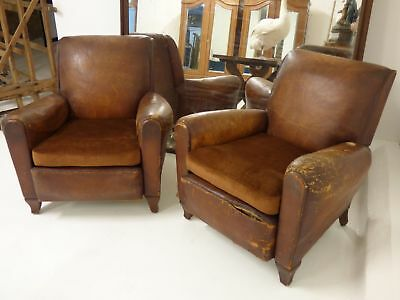 Pair of Vintage 30/40s French Leather Club Chairs - Just In - v81