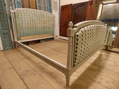VINTAGE UPHOLSTERED KING SIZE FRENCH BED - 160cm wide - ca61