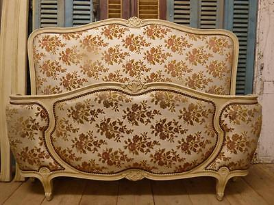LOVELY VINTAGE UPHOLSTERED DOUBLE FRENCH BED - cv79