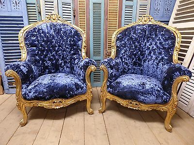Impressive Pair of Vintage French Armchairs - Gilded Detail - g36/g37