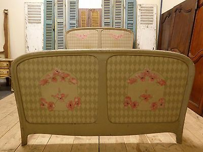ANTIQUE ART NOUVEAU FRENCH DOUBLE BED - dv16