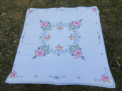 Stunning Vintage Hand Embroidered Tablecloth - 80 cm X 77 cm