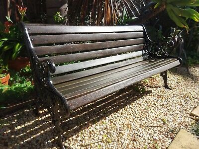 Vintage cast iron & timber Lions head garden bench seat