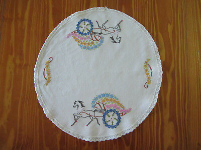 Vintage 'Horse with Sleigh of Flowers' Hand Embroidered Doily - 40 cm diameter