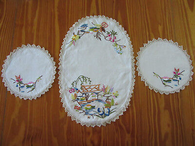 Vintage 3 Piece 'Japanese Themed' Hand Embroidered Doilies