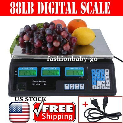 88 LB Digital Scale Price Computing Deli Food Produce Electronic Counting Weight
