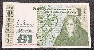 1989 Central Bank of Ireland £1 note.