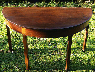 George III Mahogany Demi Lune Table - Collect Leics LE16