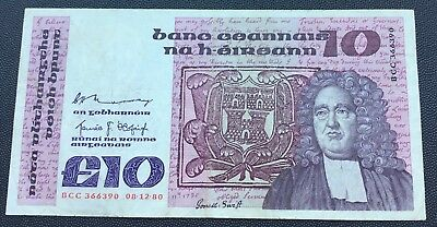 1980 Central bank of Ireland £10 note.