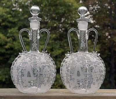 A Pair -19th Century Dutch Engraved Two Handled Wedding Carafes - Museum Quality