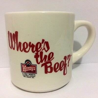 Vintage 1984 Wendy's Where's The Beef Mug Ceramic ~ White w/ Red Letters