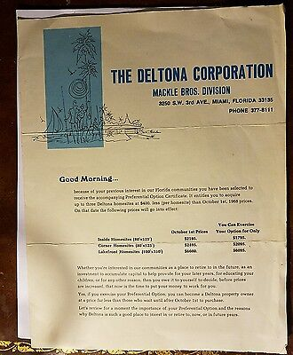 The Deltona Corporation Preferential Option Certificate 1968 Florida