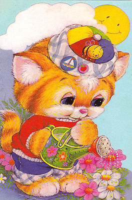 RARE Cat watering flowers Russian modern folding greeting card