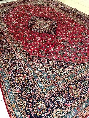 BEAUTIFUL ANTIQUE 1945 HAND-KNOTTED Handmade KASHAN CARPET RUG (12'X8'ft)