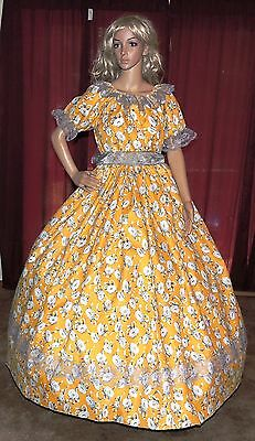CIVIL WAR VICTORIAN HALLOWEEN SOUTHERN BELLE Yellow Floral Costume Dress Gown