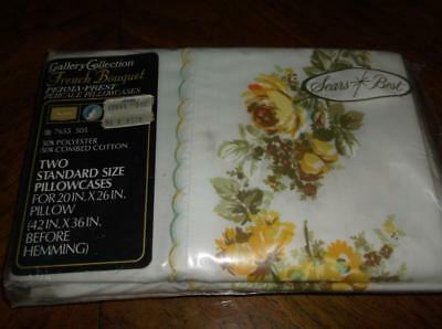 """NIP Vintage Pair Sears Pillowcases~""""French Bouquet""""~Yellow Roses & Daisies"""