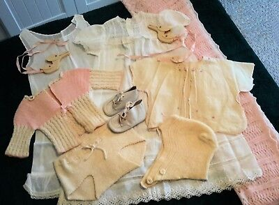 Vintage Lot***1940s-50s***Baby/Newborn Clothes--CHRISTENING+BLANKET+SHOES+MORE