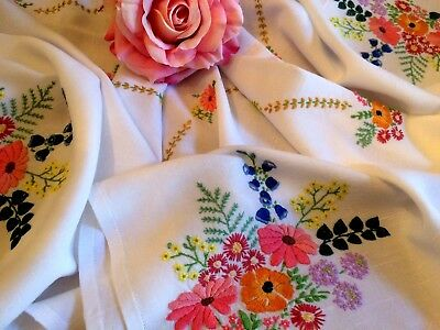 Vintage Cotton Rayon Tablecloth Raised Hand Embroidered Cottage Flowers Gorgeous
