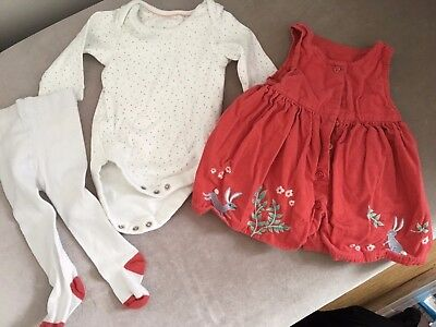 Marks and Spencer Red Baby Girl's Dress, Tights and spotty Vest, age 0-3 months