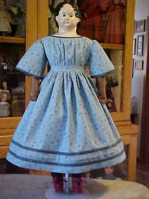 """Antique Repro Blue Paisley Print Dress For 26-29"""" Paper Mache,China, Bisque Doll"""