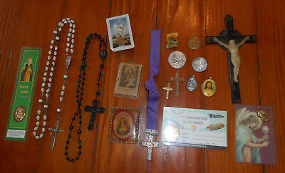 Lot 17 Catholic Religious Items~Rosary~Crucifix~Pins~Old & Newer~Christian Medal