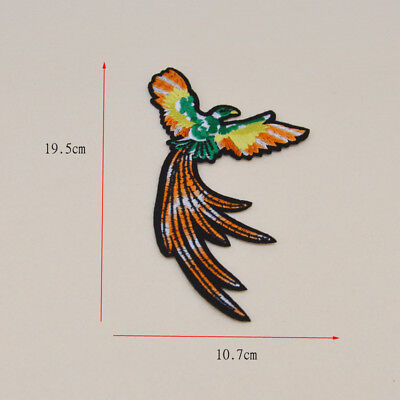 Embroidered Phoenix Iron on sew on Patches clothes bird Badge Bag Applique Craft
