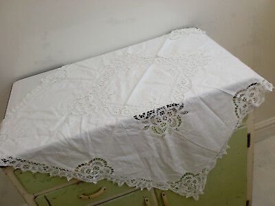 Antique White Embroidered Lace Cotton Tablecloth