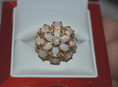 Vintage Genuine Fire Opal cluster Ring 14 k Gold Victorian style jewelry