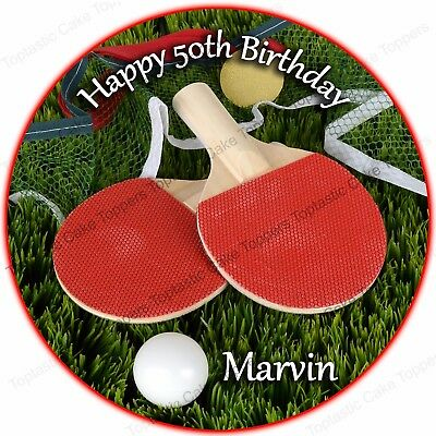 Table Tennis ping pong wiff waff personalised Edible Cake Topper Wafer Icing