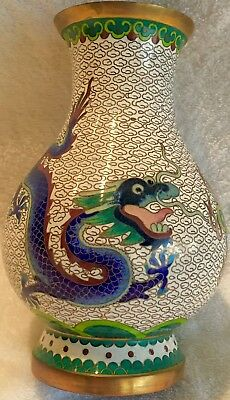 VINTAGE 5 claw (2)Chinese Cloisonne dragons vase Emperor flaming pearl authentic