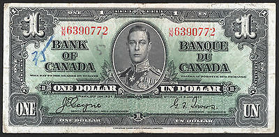 Bank Of Canada Rare Bank Notes : 1$ Dollar 1937 Old Paper Money Bill