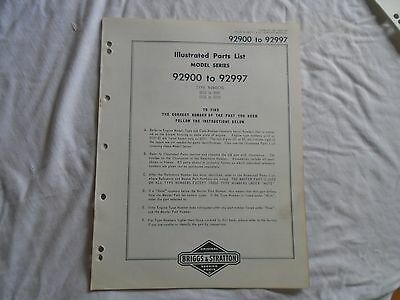 Briggs & Stratton illustrated parts list engine models 92900 to 92997