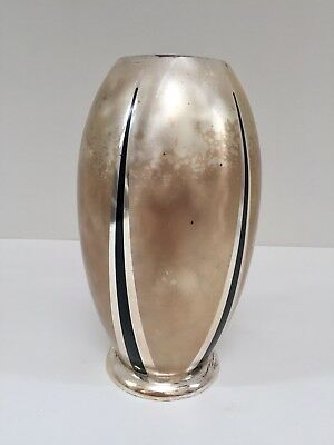 WMF IKORA ART DECO BAUHAUS ZEPPLIN BOMB VASE SILVER PLATE AND BLACK ENAMEL c1930