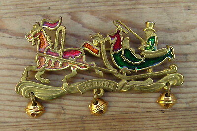 Broche Vintage Hermes Chevaux Et Traineau Metal Dore Email Brooch Enamel French