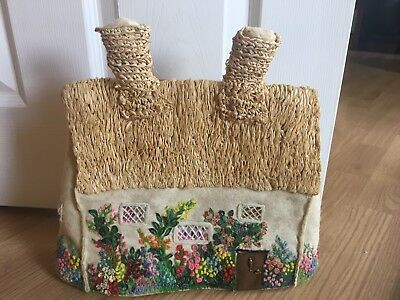 Vintage Hand Embroidered Thatched Cottage Tea Cosy